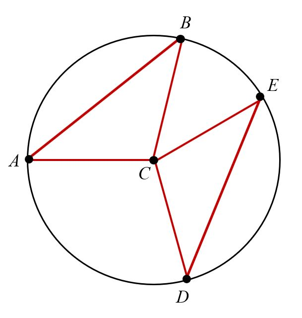 Circle C with points A B E and D on the circle. A chord connects points A and B. A second chord connects points D and E. A line connects the center, point C, to each of the points A, B, E, and D.